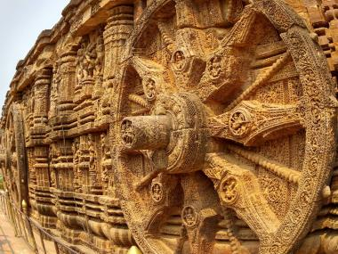The wheel of chariot carved at Sun_Temple, in the city of Puri, in the eastern Indian state of Odisha