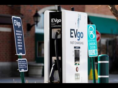 A EVgo electric vehicle charging station  at Willow Festival shopping plaza parking lot in Northbrook, Illinois.