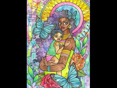 Let Love Be My Guide – Motherhood can be both difficult and beautiful. This painting is a reflection on the moments of beauty and intimacy that we find, and how they remain blooming always in memory, strengthening and guiding us through the challenging