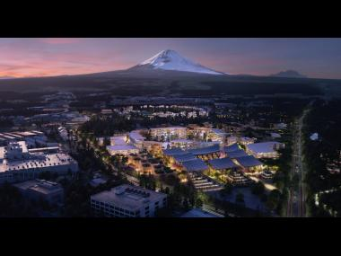 An aeriel view of prototype 'city' of the future which is built on a 175-acre site at the base of Mt Fuji in Japan. Called the Woven City, it will be a fully connected ecosystem powered by hydrogen fuel cells.