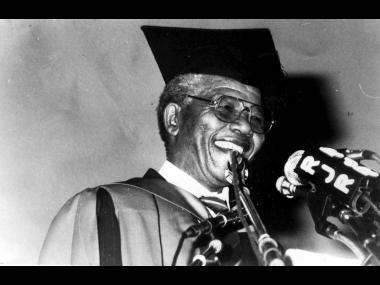 Dr. Nelson Mandela after he was conferred with the doctorate from the University of the West Indies.