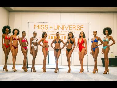 The Miss Universe Jamaica top 10 (from left): Kim-Marie Spence, Lauren Less, Kaydean Sterling, Jianna Thompson, Chavelle Kavanaugh, Keronica Lewis, Aaliyah Barnett, Daena Soares, Trudy-Ann Peart and Trishani Weller. They were selected last Saturday to move
