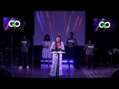 Singer Carlene Davis ministering at the Go For God Church in Kingston.