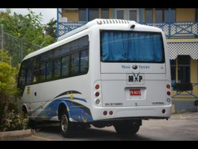 A bus parked at the Western Hospitality Institute, St James.