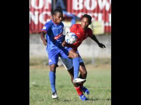 Dunbeholden's Nickoy Christian (left) and Thorn Simpson of UWI FC  battle for possession during a Red Stripe Premier League match at the UWI Bowl on January 12, 2019. The game ended 0-0.