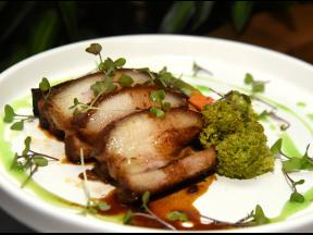 Kakuni braised pork belly is slow-cooked for six hours in Japanese broth and glanced in mirin, soy and ginger.