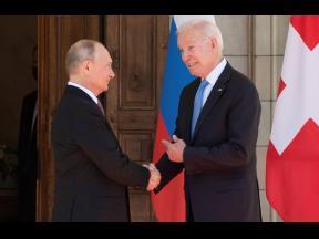 President Joe Biden and Russian President Vladimir Putin arrive to meet at the 'Villa la Grange' yesterday in Geneva, Switzerland. (AP)