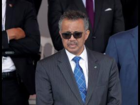 In this file photo dated Tuesday, July 14, 2020, Director General of the World Health Organization, Tedros Adhanom Ghebreyesus, attends the Bastille Day military parade in Paris.