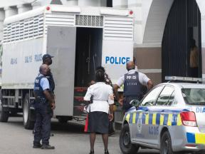 A prisoner transport vehicle waits outside the Supreme Court building where the Uchence Wilson Gang trial was under way on Thursday, October 8, 2020. Thirty-three alleged members of the Clansman Gang face their date with destiny today.