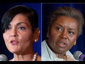 This photo combo shows Virginia Democratic Lt Governor candidate Hala Ayala (left) and Virginia Republican Lt Governor candidate Winsome Sears.