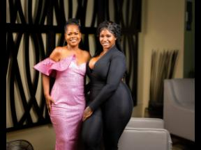 Shari Ruddock (right), the designer behind Sarah Benét and creator of the breast cancer campaign, is joined by this year's recipient, survivor Nerece Hinds Wilson.