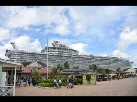 A Royal Caribbean cruise ship docked at the port of Falmouth in Jamaica.