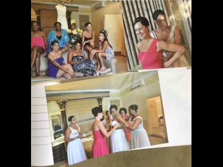 Snapshots of Ann-Marie Vaz. I photo at bottom, Ann-Marie Vaz (centre) helps her sister, Trisha Thompson, get dressed on her wedding day.