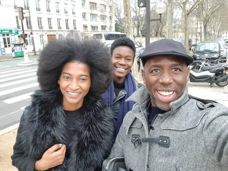 Breana Carson (back) snaps a selfie with agency sister Tash Ogeare and Saint International's CEO Deiwght Peters in Paris.