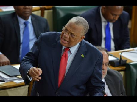 Opposition Leader Dr Peter Phillips making his contribution to the Budget Debate at Gordon House on Thursday.