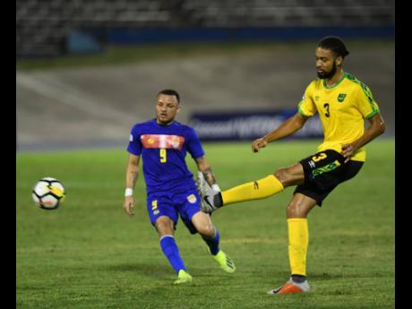 Jamaica's Micahel Hector in CONCACAF Nations League action against the Cayman Islands at the National Stadium on Sunday, September 9, 2018.