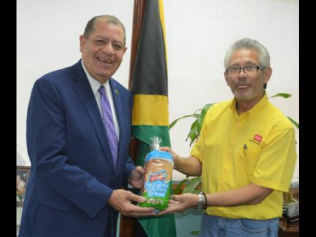Minister of Industry, Commerce, Agriculture and Fisheries Audley Shaw (left) and Chairman, Consolidated Bakeries Jamaica Limited (Purity) Vincent J. Chang show a loaf of reduced-gluten cassava bread made by the bakery. The occasion was  a courtesy call at the ministry's New Kingston offices on Thursday. The meeting was to discuss the company's new line of reduced gluten and no-gluten products made from cassava flour, to the market.