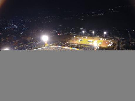An aerial shot of the final day of activities at the ISSA/GraceKennedy Boys and Girls' Athletics Championships at the National Stadium in Kingston on Saturday.