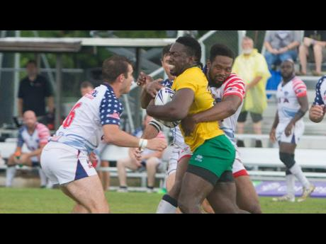 Jamaica's Reggae Warriors in action against the USA Hawks during their Rugby Americas North Championship game on Saturday, November 17, 2018.