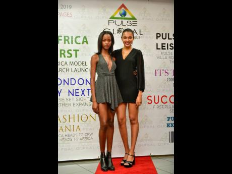 International models Miqueal Symone (left) and Zoe Griffith graced the red carpet at the Pulse Global Launch.