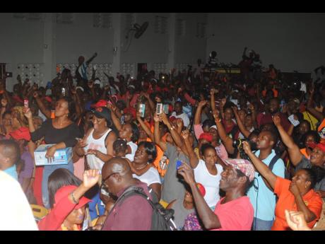 A section of the PNP crowd at Port Antonio High School on Wednesday night.