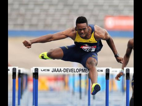 Commonwealth Games 110m hurdles champion Ronald Levy competing at the 2017 NCB Intercollegiate Track and Field Championships at the National Stadium.
