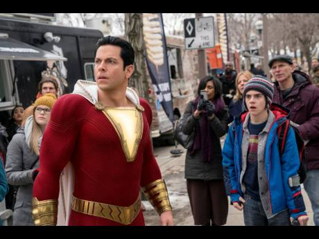 Zachary Levi (left) and Jack Dylan Grazer in a scene from 'Shazam!'