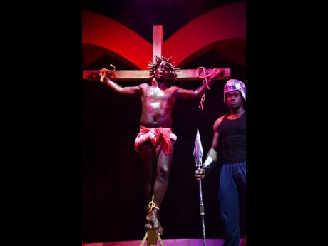 The intense crucifixion scene from the Broadway musical 'Jesus Christ Superstar', staged recently at Iberostar Suites in Montego Bay.