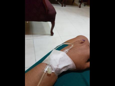 Heather receiving cyclophosphamide treatment for her kidneys.