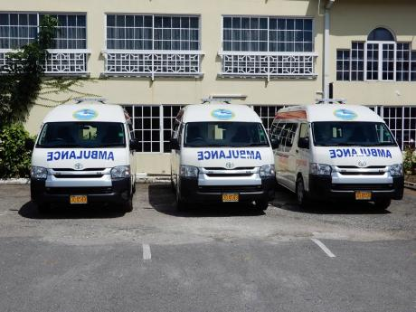 The three ambulances that were handed over to the Port Maria and Annotto Bay hospitals.