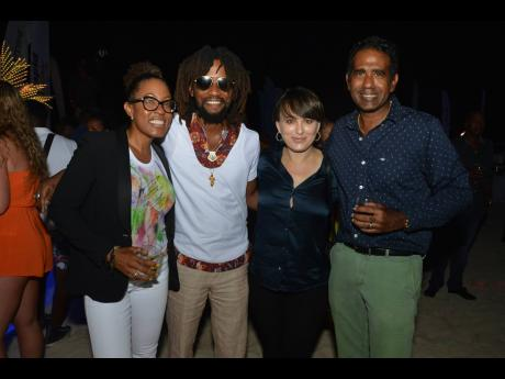 Royalton's Stayce Ingram (left), Island Strains' Christopher Gordon and his wife Maria, were spotted out and about with the effervescent Richard Ferdinand of the Tryall Club (right).
