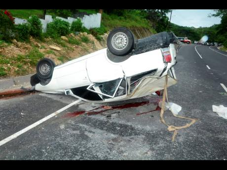 The ill-fated car that crashed in Ferris, Westmoreland, on Thursday.