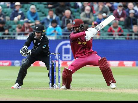West Indies' Shai Hope (right) in batting action during the Cricket World Cup warm-up match against New Zealand at the Bristol County Ground, Bristol, England, yesterday.