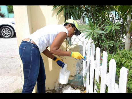 Supreme Ventures Limited President and CEO Ann-Dawn Young Sang paints a section of the white picket fencing at the Strathmore Children's Home in Spanish Town, St Catherine.