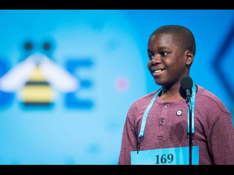 Darian Douglas of Jamaica participates in the final round of the 2019 Scripps National Spelling Bee on May 30 in Oxon Hill, Maryland. The Gleaner's Children's Own reigning champion was eliminated yesterday.