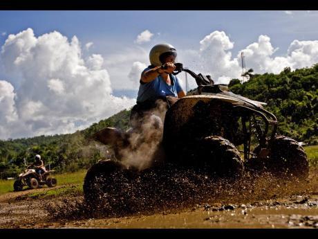 Mountain bike rising at Chukka Caribbean Adventures.