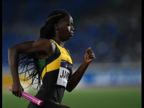 Tiffany James on the second leg of the women's 4x400m relay, at the IAAF World Relays in Yokohama, Japan, on Saturday, May 11. Ricardo Makyn/Chief Photo Editor