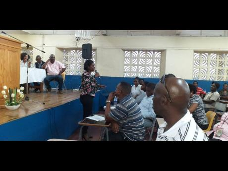 Kedesha Campbell, director of the Constituency Development Fund in the Office of the Prime Minister, addressing East Portland residents and stakeholders at a meeting on Thursday.