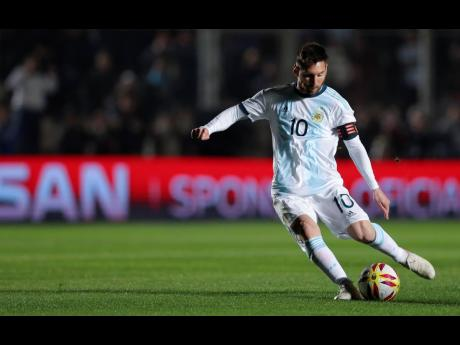 Argentina's Lionel Messi controls the ball during an international friendly match against Nicaragua in San Juan, Argentina, on Friday.