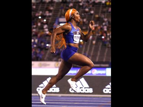 Shelly-Ann Fraser-Pryce on her way to clocking 10.88 seconds for victory in the Women's 100m sprint at the Racers Adidas Grand Prix at the National Stadium on Saturday night.