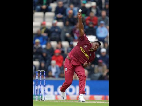 Windies pace bowler Oshane Thomas with a delivery during their ICC World Cup match with South Africa at The Ageas Bowl in Southampton, England, on Monday.