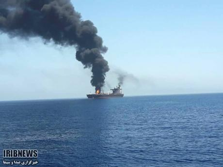 AP  In this photo released by state-run IRIB News Agency, an oil tanker is on fire in the sea of Oman on Thursday, June 13. Two oil tankers near the strategic Strait of Hormuz have been reportedly attacked. The alleged assault on Thursday left one ablaze and adrift as sailors were evacuated from both vessels. The US Navy rushed to assist amid heightened tensions between Washington and Tehran.