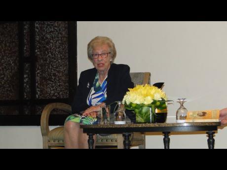 Holocaust survivor Eva Schloss telling her story inside The Jamaica Pegasus on Tuesday, April 2.