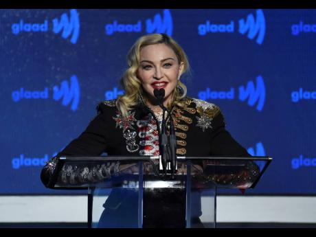 Madonna accepts the Advocate for Change award at the 30th annual GLAAD Media Awards at the New York Hilton Midtown in New York in May.