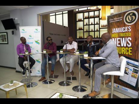 Dad's Outlook panelists (from left) Stevie Barnett, (SME Manager and Team Lead at Sagicor Bank); Wayne Marshall (Recording Artiste); David Morrison (Senior Blender at Appleton Estate Jamaica); Teino Evans (The Gleaner's Enterprise Editor - Lifestyle); and Marlon Campbell (Host).