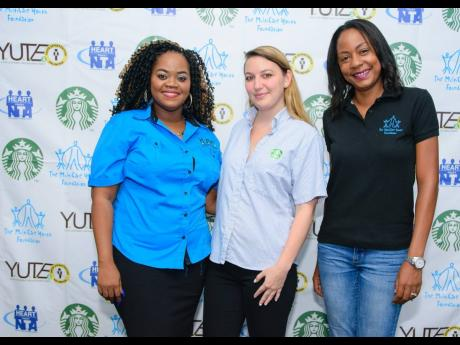 From left: Sharlene Brooks, project officer at the MultiCare Youth Foundation; Nicola Groves, marketing coordinator at Starbucks Jamaica; and Alicia Glasgow-Gentles, executive director of The MultiCare Youth Foundation.