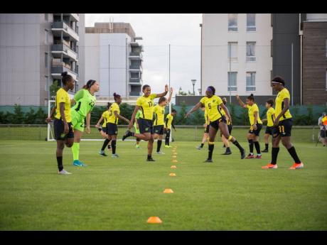 Jamaica's Reggae Girlz in their training session at Stade Eugene Thenard in Grenoble, France yesterday, ahead of today's final Group C match, against Australia, in the FIFA Women's World Cup at the Stade des Alpes this afternoon.