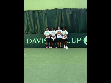 Jamaica's 2019 Davis Cup team (from left) Dimitri Bird, captain Dominic Pagon, Jacob Bicknell, and Randy Phillips.