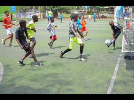 Youngsters in action at the Ballaz Liberty Park during #OurSons 2019 'Believe the Ball' event on Saturday, June 15.