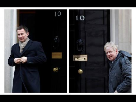 In this two photo combo image, Jeremy Hunt (left), and Boris Johnson, pictured outside 10 Downing Street, who are the final two contenders for leadership of the Conservative Party. (AP)